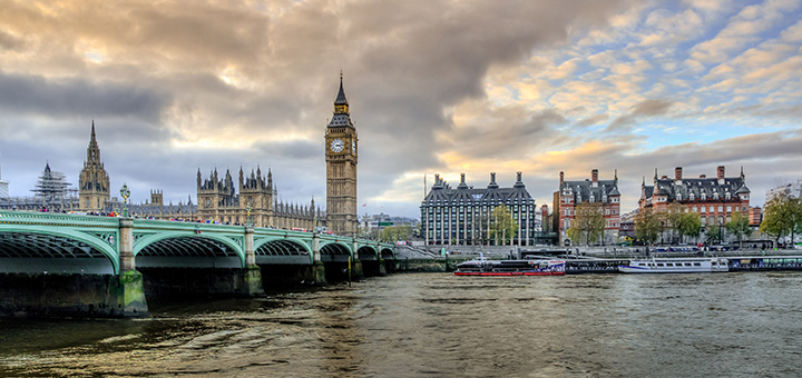 London with Victoria bridge and Big Ben